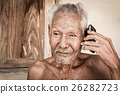 portrait of elder man use telephone,vintage tone 26282723