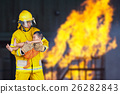 fireman rescued the child from the fire 26282843