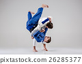 The two judokas fighters fighting men 26285377