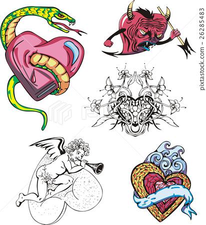 Set of cartoon hearts 26285483