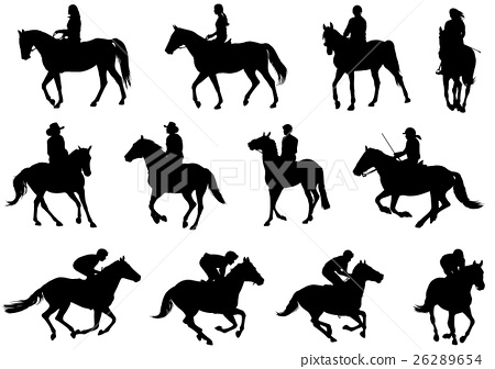 people riding horses silhouettes 26289654