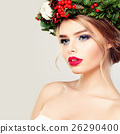 Beautiful Young Woman in Green Wreath 26290400