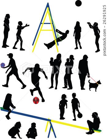 family silhouette vector 26291925