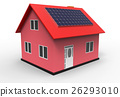 House with solar panel, 3d rendering 26293010