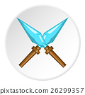 Crossed spikes icon, cartoon style 26299357