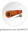Brass tube with darts icon, cartoon style 26299417