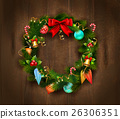 Festive Christmas Wreath Poster 26306351