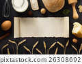 bread and bakery products on wood 26308692