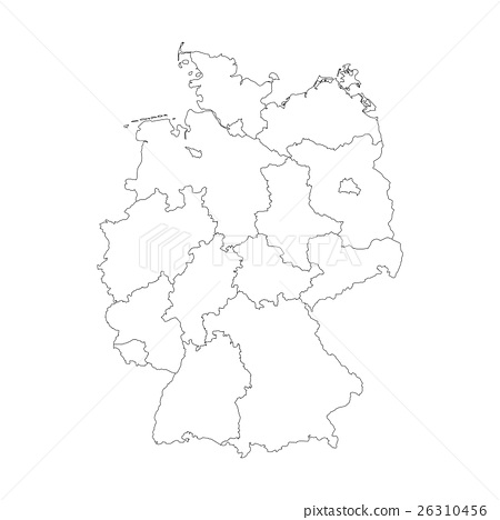 Map Of Germany Divided.Map Of Germany Divided To Federal States Stock Illustration