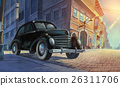 Car parked in old town painted illustration 26311706