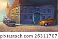 Cars parked in old town painted illustration 26311707