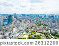 View from above on Tokyo Tower with skyline in 26312200