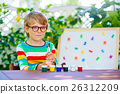little school kid boy with glasses holding wax 26312209