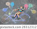 little kid boy having fun with bicycle chalks 26312312