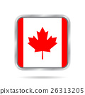 Flag of Canada. Shiny metallic gray square button. 26313205