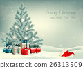 Retro Christmas background with a Christmas tree 26313509