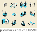 isometric set of business people situation 26316590