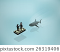 Business shark risk and hidden power concept 26319406