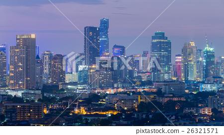 Twilight city downtown night view 26321571