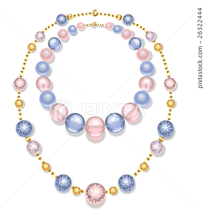 necklace of blue and pink beads 26322444