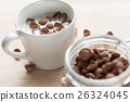 chocolate cereal cornflakes and milk for breafast 26324045