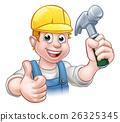 Handyman Carpenter Cartoon Holding Hammer 26325345