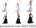 Set of blonde posing in costumes for belly dance 26327000
