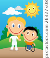 Happy physiotherapist and child in wheelchair 26327508