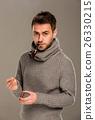 beard, burn, character, fashion, flame, gray backg 26330215