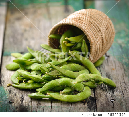 green soy beans in the basket on wooden 26331595