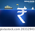 Indian Rupee symbol as iceberg in the ocean 26332943