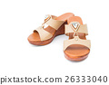 Brown heels shoes color on white background 26333040