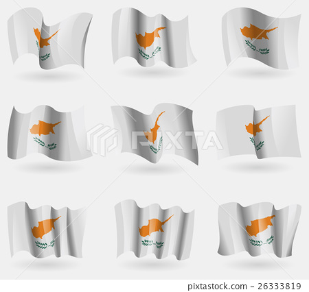 Set of Cyprus flags in the air. Vector 26333819