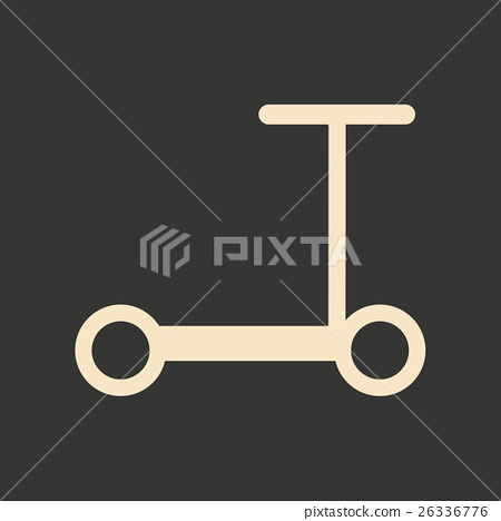 Flat in black and white mobile application scooter 26336776