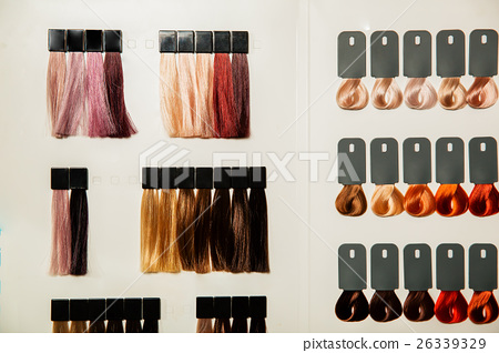 Palette of different colors to hair dye. 26339329
