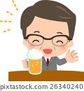 一个微笑的商人喝啤酒 26340240