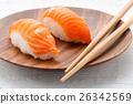 Two fresh salmon Nighiri sushi on a plate 26342569