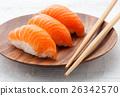 Three fresh salmon Nighiri sushi 26342570