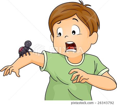 Kid Boy Scared Spider 26343792