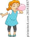 Kid Girl Blow Balloon 26343897