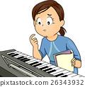 Kid Girl Piano Thinking 26343932