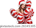 Christmas woman with  holidays balloons 26345305