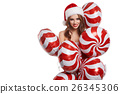 Christmas woman with  holidays balloons 26345306