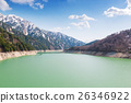 Landscape of mountains with lake at Kurobe dam. 26346922