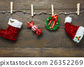 Top view Christmas decoration clothesline. 26352269