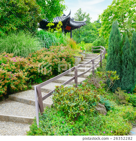 stone staircase in beautiful summer park 26352282