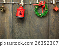 Top view Christmas decoration,lamp and clothesline 26352307