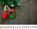 Top view Christmas decoration,lamp and clothesline 26352308