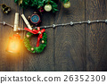 Top view Christmas decoration,lamp and clothesline 26352309
