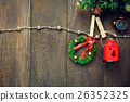 Top view Christmas decoration,lamp and clothesline 26352325